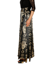 DeeVineeTi Women's Satin Black Printed Long A-Line Wrap-Around Skirt WA000201 FreeSize Maxi Striped Left