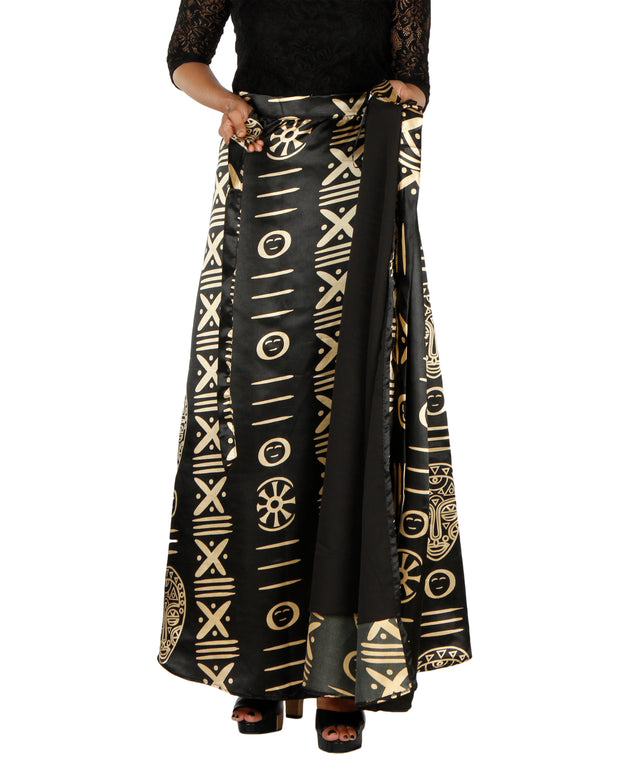 DeeVineeTi Women's Satin Black Printed Long A-Line Wrap-Around Skirt WA000201 FreeSize Maxi Striped Lined