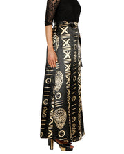DeeVineeTi Women's Satin Black Printed Long A-Line Wrap-Around Skirt WA000201 FreeSize Maxi Striped Right