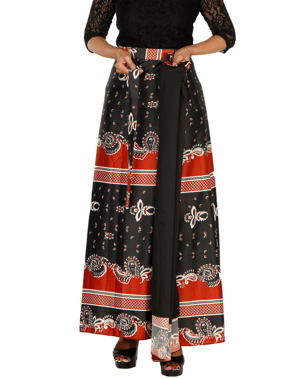 DeeVineeTi Women's Satin Black Printed Long A-Line Wrap-Around Skirt WA000202 FreeSize Maxi Lined