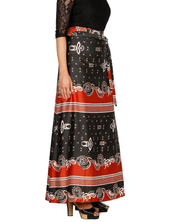 DeeVineeTi Women's Satin Black Printed Long A-Line Wrap-Around Skirt WA000202 FreeSize Maxi Right