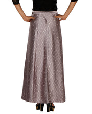 DeeVineeTi Women's Satin Grey Printed Long A-Line Wrap-Around Skirt WA000204 FreeSize Maxi Geometric Back