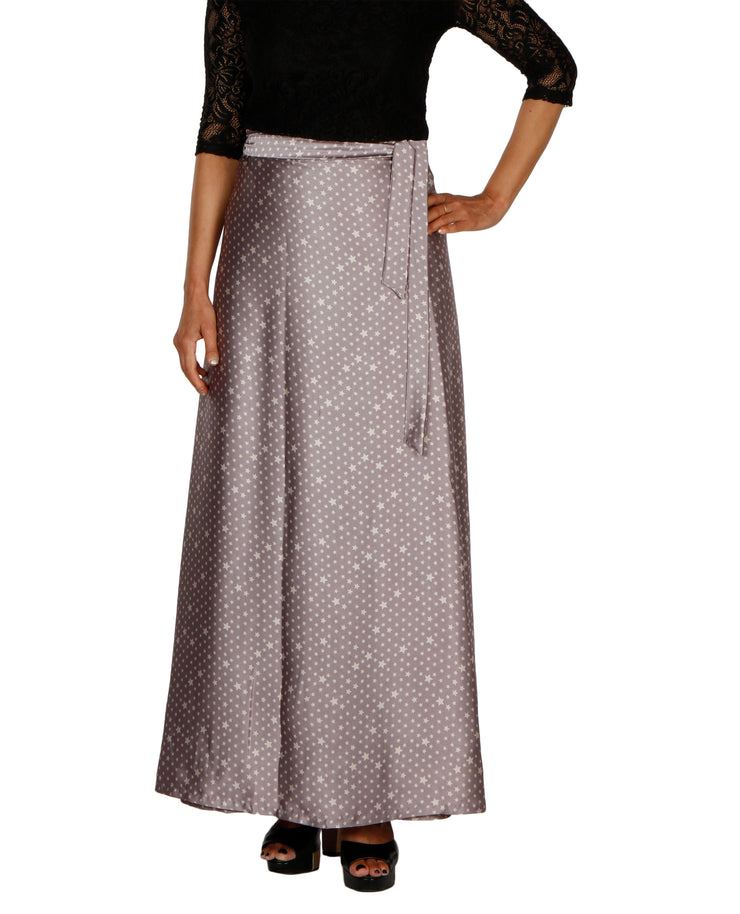 DeeVineeTi Women's Satin Grey Printed Long A-Line Wrap-Around Skirt WA000204 FreeSize Maxi Geometric Front