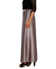 DeeVineeTi Women's Satin Grey Printed Long A-Line Wrap-Around Skirt WA000204 FreeSize Maxi Geometric Left