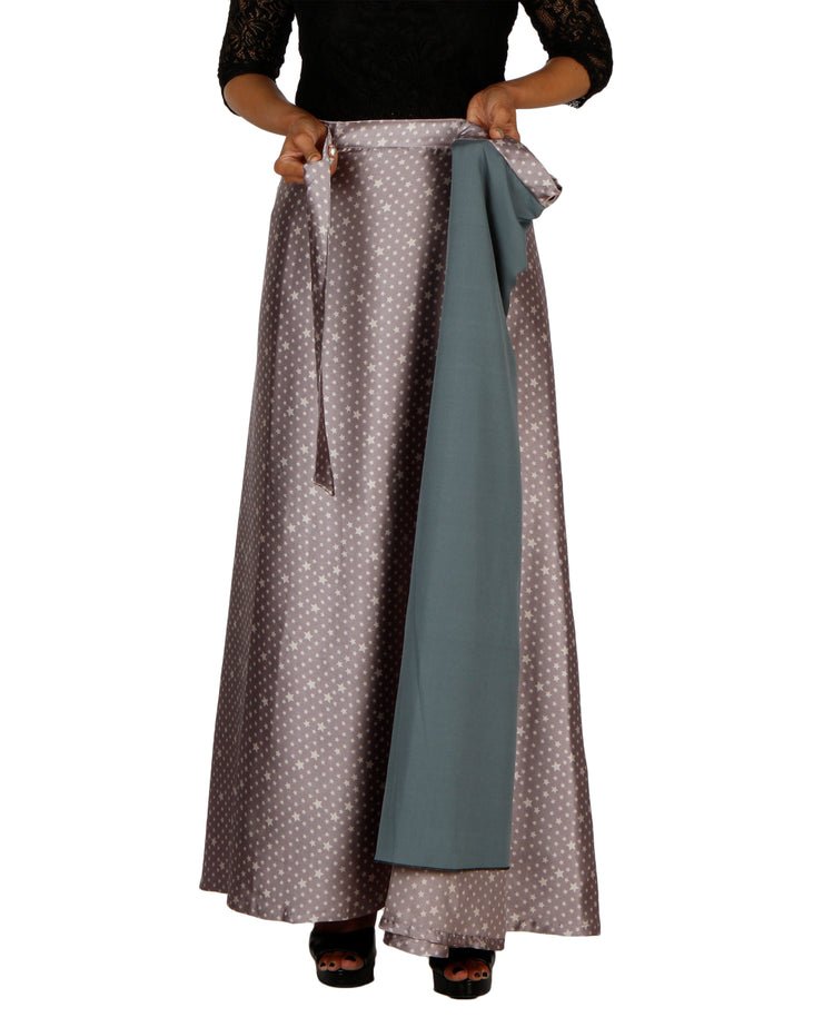 DeeVineeTi Women's Satin Grey Printed Long A-Line Wrap-Around Skirt WA000204 FreeSize Maxi Geometric Lined
