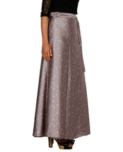 DeeVineeTi Women's Satin Grey Printed Long A-Line Wrap-Around Skirt WA000204 FreeSize Maxi Geometric Right