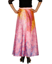 DeeVineeTi Women's Satin Pink Abstract Printed Long A-Line Wrap-Around Skirt WA000203 FreeSize Maxi Back