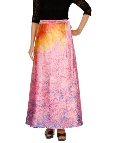 DeeVineeTi Women's Satin Pink Abstract Printed Long A-Line Wrap-Around Skirt WA000203 FreeSize Maxi Front