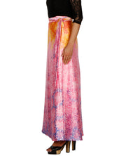DeeVineeTi Women's Satin Pink Abstract Printed Long A-Line Wrap-Around Skirt WA000203 FreeSize Maxi Left