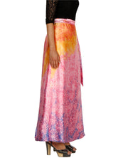 DeeVineeTi Women's Satin Pink Abstract Printed Long A-Line Wrap-Around Skirt WA000203 FreeSize Maxi Right