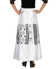 DeeVineeTi Women's Satin White Printed Long A-Line Wrap-Around Skirt WA000200 FreeSize Maxi Back