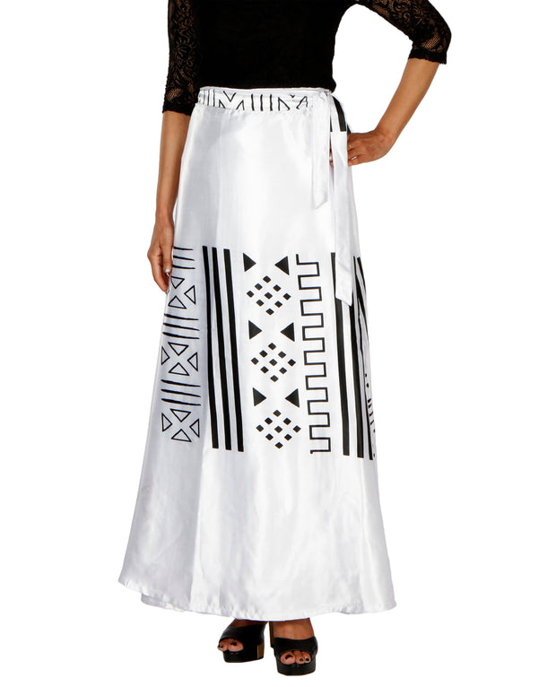 DeeVineeTi Women's Satin White Printed Long A-Line Wrap-Around Skirt WA000200 FreeSize Maxi Front
