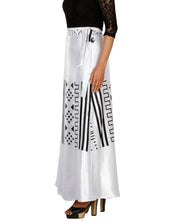 DeeVineeTi Women's Satin White Printed Long A-Line Wrap-Around Skirt WA000200 FreeSize Maxi Left