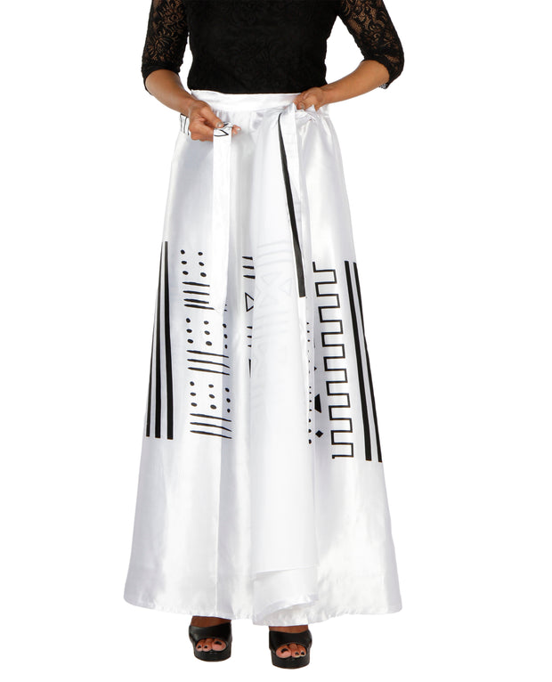 DeeVineeTi Women's Satin White Printed Long A-Line Wrap-Around Skirt WA000200 FreeSize Maxi Lined