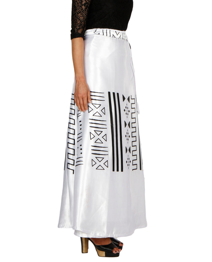 DeeVineeTi Women's Satin White Printed Long A-Line Wrap-Around Skirt WA000200 FreeSize Maxi Right