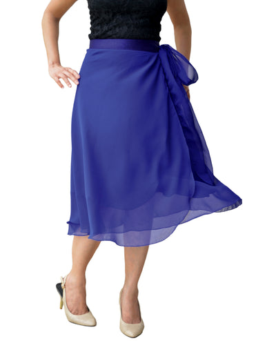 DeeVineeTi Women's Skirt Georgette Blue Solid Beach Wrap Around Skirt WA000105 Freesize Front