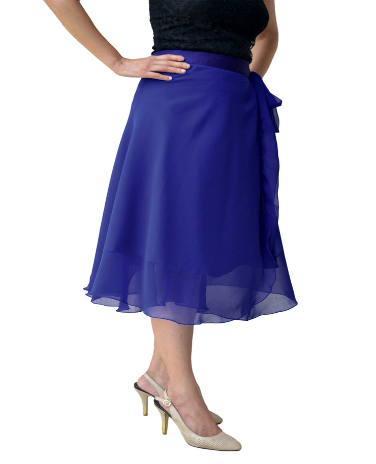 DeeVineeTi Women's Skirt Georgette Blue Solid Beach Wrap Around Skirt WA000105 Freesize Left