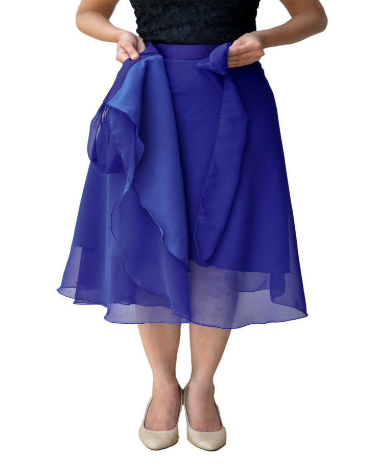 DeeVineeTi Women's Skirt Georgette Blue Solid Beach Wrap Around Skirt WA000105 Freesize Lined