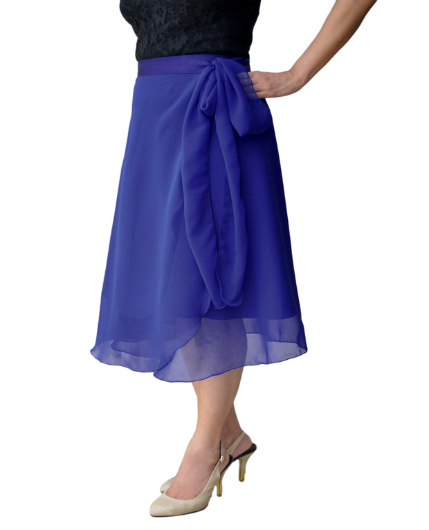 DeeVineeTi Women's Skirt Georgette Blue Solid Beach Wrap Around Skirt WA000105 Freesize Right