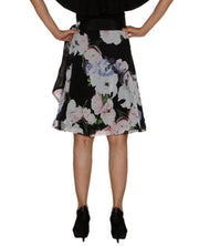 DeeVineeTi Women's Synthetic Black Floral Printed Wrap Around Skirt WA000209 FreeSize Knee Length Back