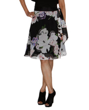 DeeVineeTi Women's Synthetic Black Floral Printed Wrap Around Skirt WA000209 FreeSize Knee Length Front