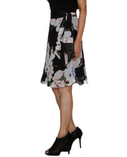 DeeVineeTi Women's Synthetic Black Floral Printed Wrap Around Skirt WA000209 FreeSize Knee Length Left