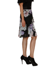 DeeVineeTi Women's Synthetic Black Floral Printed Wrap Around Skirt WA000209 FreeSize Knee Length Right