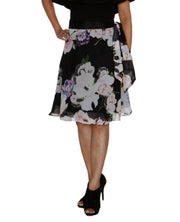 DeeVineeTi Women's Synthetic Black Floral Printed Wrap Around Skirt WA000209 FreeSize Knee Length Length