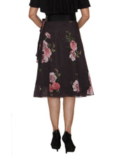 DeeVineeTi Women's Synthetic Grey Floral Printed Wrap-Around Skirt WA000210 FreeSize Mid Calf Back