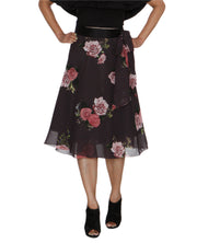 DeeVineeTi Women's Synthetic Grey Floral Printed Wrap-Around Skirt WA000210 FreeSize Mid Calf Front
