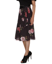 DeeVineeTi Women's Synthetic Grey Floral Printed Wrap-Around Skirt WA000210 FreeSize Mid Calf Left