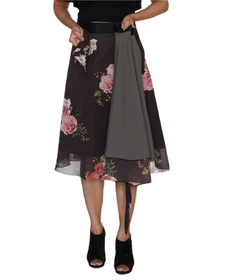 DeeVineeTi Women's Synthetic Grey Floral Printed Wrap-Around Skirt WA000210 FreeSize Mid Calf Lined