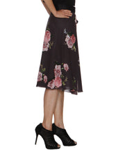 DeeVineeTi Women's Synthetic Grey Floral Printed Wrap-Around Skirt WA000210 FreeSize Mid Calf Right