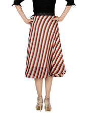 DeeVineeTi Women's Synthetic Multicolor Striped Printed Wrap-Around Skirt WA000171 Freesize Mid-Calf Back