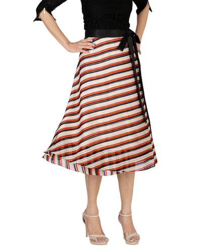 DeeVineeTi Women's Synthetic Multicolor Striped Printed Wrap-Around Skirt WA000171 Freesize Mid-Calf Front