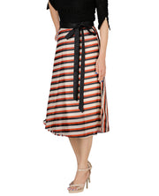 DeeVineeTi Women's Synthetic Multicolor Striped Printed Wrap-Around Skirt WA000171 Freesize Mid-Calf Left