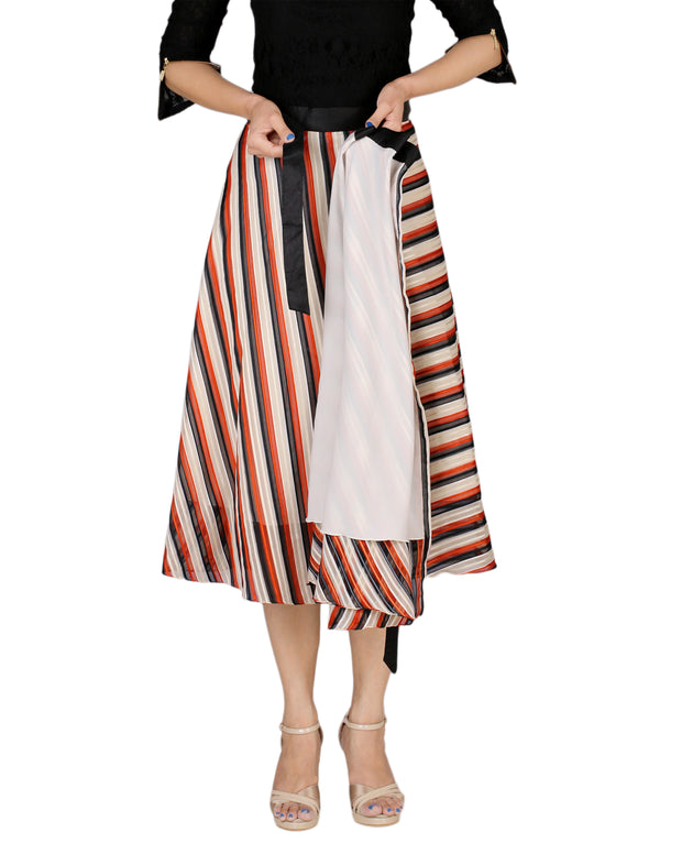 DeeVineeTi Women's Synthetic Multicolor Striped Printed Wrap-Around Skirt WA000171 Freesize Mid-Calf Lined