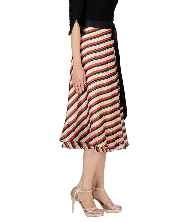 DeeVineeTi Women's Synthetic Multicolor Striped Printed Wrap-Around Skirt WA000171 Freesize Mid-Calf Right