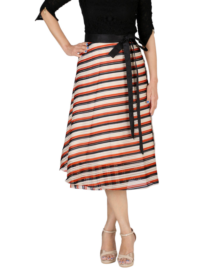 DeeVineeTi Women's Synthetic Multicolor Striped Printed Wrap-Around Skirt WA000171 Freesize Mid-Calf