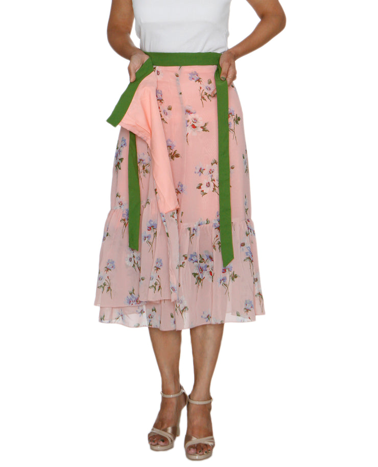 DeeVineeTi Women's Synthetic Peach Floral Printed Ruffled Wrap Around Skirt WA000211 FreeSize Mid Calf Lined