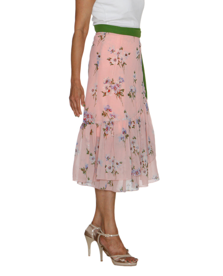 DeeVineeTi Women's Synthetic Peach Floral Printed Ruffled Wrap Around Skirt WA000211 FreeSize Mid Calf Right