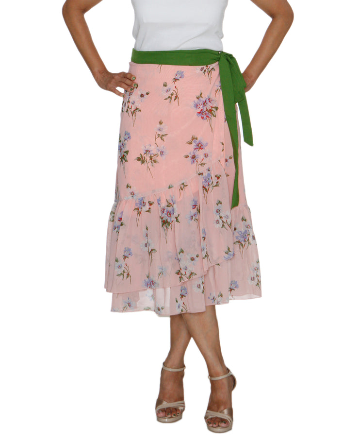 DeeVineeTi Women's Synthetic Peach Floral Printed Ruffled Wrap Around Skirt WA000211 FreeSize Mid Calf