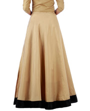 DeeVineeTi Women's Taffeta Silk Beige Solid Lehenga Style Maxi Wrap-Around Skirt WA000189 Freesize Ethnic Full Circle Back