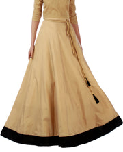 DeeVineeTi Women's Taffeta Silk Beige Solid Lehenga Style Maxi Wrap-Around Skirt WA000189 Freesize Ethnic Full Circle Front