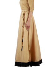 DeeVineeTi Women's Taffeta Silk Beige Solid Lehenga Style Maxi Wrap-Around Skirt WA000189 Freesize Ethnic Full Circle Left
