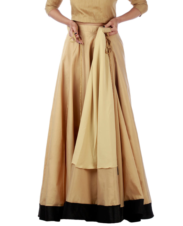 DeeVineeTi Women's Taffeta Silk Beige Solid Lehenga Style Maxi Wrap-Around Skirt WA000189 Freesize Ethnic Full Circle Lined