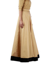 DeeVineeTi Women's Taffeta Silk Beige Solid Lehenga Style Maxi Wrap-Around Skirt WA000189 Freesize Ethnic Full Circle Right