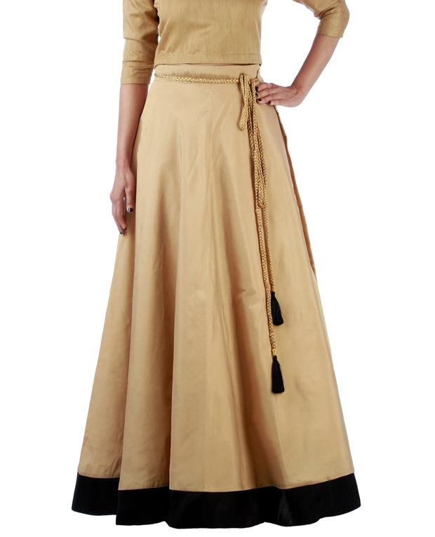 DeeVineeTi Women's Taffeta Silk Beige Solid Lehenga Style Maxi Wrap-Around Skirt WA000189 Freesize Ethnic Full Circle