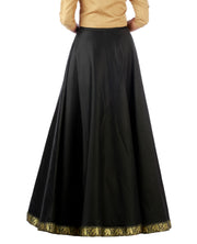 DeeVineeTi Women's Taffeta Silk Black Solid Lehenga Style Maxi Wrap-Around Skirt WA000191 Freesize Ethnic Full Circle Back