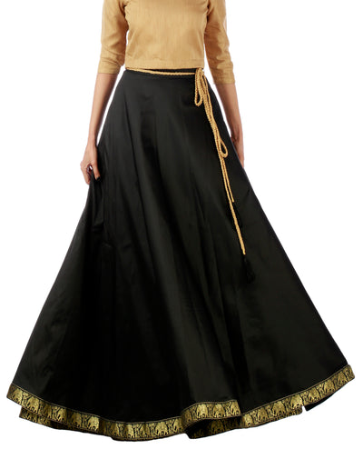 DeeVineeTi Women's Taffeta Silk Black Solid Lehenga Style Maxi Wrap-Around Skirt WA000191 Freesize Ethnic Full Circle Front